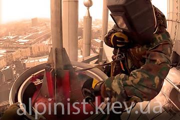 сварка на высоте сварщиком альпинистом фото