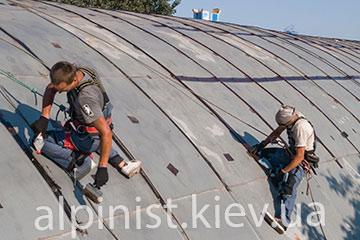 пример работы гидроизоляция крыши ангара на выдубичах