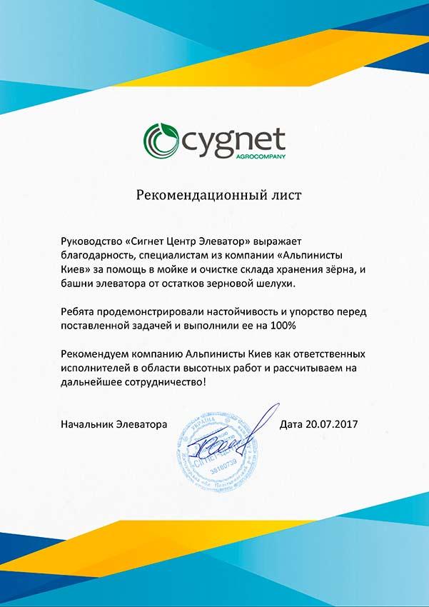 Сигнет Элеватор рекомендационный лист