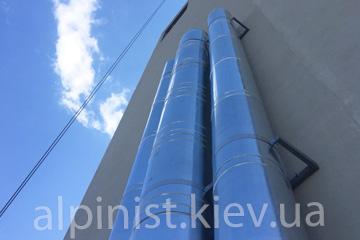 монтаж наружных вертикальных дымовых труб альпинисты киев фото