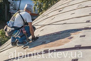 пример работы гидроизоляция крыши ангара на выдубичах профессионалами альпинистами