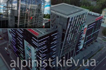 монтаж освещения на торговом центре большевик фото